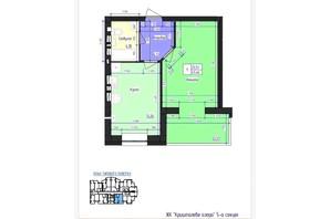 ЖК Кришталеве Озеро: планировка 1-комнатной квартиры 45.46 м²
