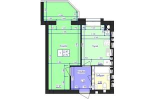 ЖК Кришталеве Озеро: планировка 1-комнатной квартиры 41.75 м²