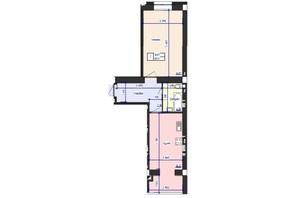 ЖК Кришталеве Озеро: планировка 1-комнатной квартиры 48.41 м²