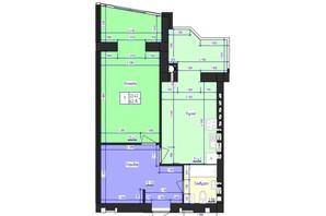ЖК Кришталеве Озеро: планировка 1-комнатной квартиры 62.15 м²