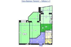 ЖК Кришталеве Озеро: планировка 2-комнатной квартиры 80.45 м²