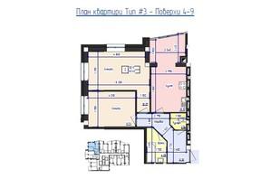 ЖК Кришталеве Озеро: планировка 2-комнатной квартиры 62.42 м²
