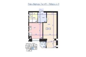 ЖК Кришталеве Озеро: планировка 1-комнатной квартиры 35.31 м²
