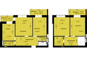 ЖК Кришталеві джерела: планировка 4-комнатной квартиры 103.18 м²