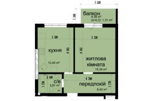 ЖК Кришталеві джерела: планировка 1-комнатной квартиры 42.29 м²