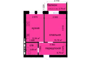 ЖК Кришталеві джерела: планировка 1-комнатной квартиры 42.34 м²