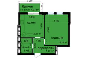 ЖК Кришталеві джерела: планировка 1-комнатной квартиры 39.02 м²