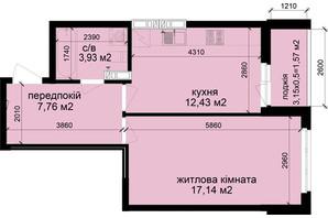 ЖК Кришталеві джерела: планировка 1-комнатной квартиры 42.83 м²