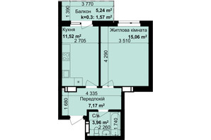 ЖК Кришталеві джерела: планировка 1-комнатной квартиры 39.28 м²