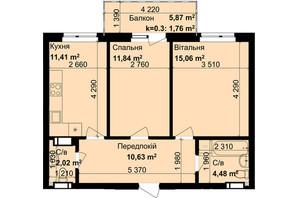 ЖК Кришталеві джерела: планировка 2-комнатной квартиры 57.2 м²