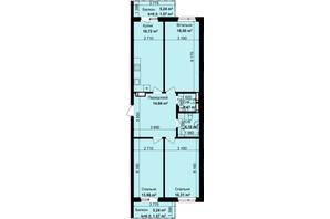 ЖК Кришталеві джерела: планировка 3-комнатной квартиры 90.88 м²