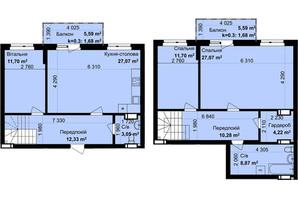 ЖК Кришталеві джерела: планировка 3-комнатной квартиры 119.65 м²