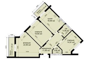 ЖК Кришталеві джерела: планировка 3-комнатной квартиры 95.47 м²