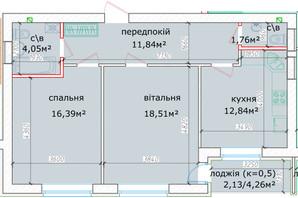 ЖК Кришталеві джерела: планировка 2-комнатной квартиры 67.52 м²
