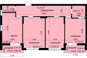 ЖК Кришталеві джерела: планировка 3-комнатной квартиры 84.13 м²