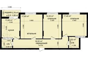 ЖК Кришталеві джерела: планировка 3-комнатной квартиры 85.63 м²