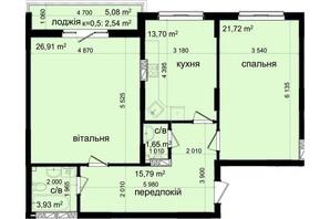 ЖК Кришталеві джерела: планировка 3-комнатной квартиры 86.54 м²