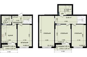 ЖК Кришталеві джерела: планировка 4-комнатной квартиры 107.05 м²