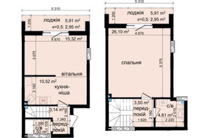 ЖК Кришталеві джерела: планировка 2-комнатной квартиры 70.59 м²