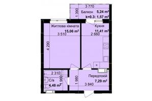 ЖК Кришталеві джерела: планировка 1-комнатной квартиры 39.81 м²