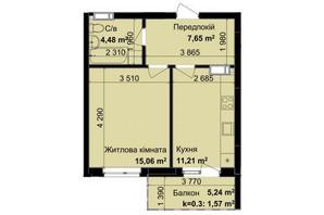 ЖК Кришталеві джерела: планировка 1-комнатной квартиры 39.97 м²