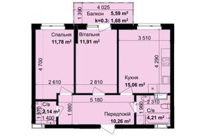 ЖК Кришталеві джерела: планировка 2-комнатной квартиры 57.04 м²