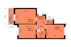 ЖК Кришталеві джерела: планировка 2-комнатной квартиры 62.94 м²