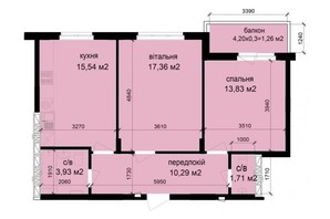 ЖК Кришталеві джерела: планировка 2-комнатной квартиры 63.92 м²