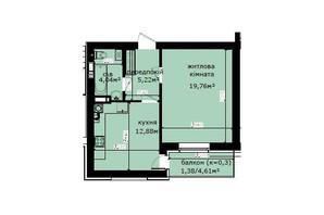 ЖК Кришталеві джерела: планировка 1-комнатной квартиры 43.28 м²