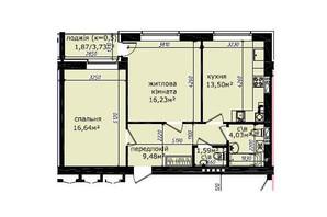 ЖК Кришталеві джерела: планировка 2-комнатной квартиры 63.34 м²