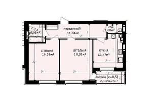 ЖК Кришталеві джерела: планировка 2-комнатной квартиры 67.07 м²