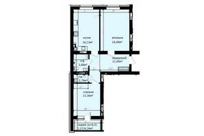 ЖК Кришталеві джерела: планировка 2-комнатной квартиры 68.28 м²