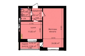 ЖК Кришталеві джерела: планировка 1-комнатной квартиры 46.56 м²
