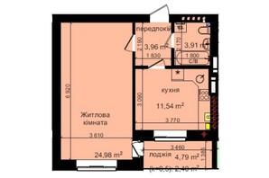 ЖК Кришталеві джерела: планировка 1-комнатной квартиры 46.79 м²