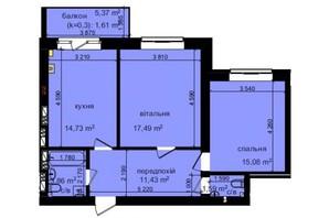 ЖК Кришталеві джерела: планировка 2-комнатной квартиры 65.79 м²