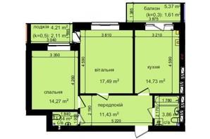ЖК Кришталеві джерела: планировка 2-комнатной квартиры 67.34 м²