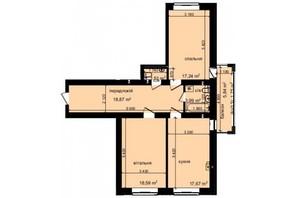 ЖК Кришталеві джерела: планировка 2-комнатной квартиры 79.62 м²