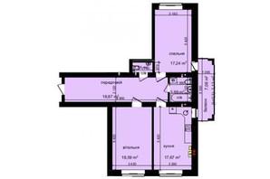 ЖК Кришталеві джерела: планировка 2-комнатной квартиры 80 м²
