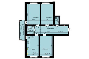 ЖК Кришталеві джерела: планировка 3-комнатной квартиры 100.41 м²