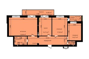 ЖК Кришталеві джерела: планировка 3-комнатной квартиры 115.14 м²