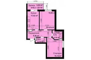 ЖК Кришталеві джерела: планировка 2-комнатной квартиры 59.54 м²