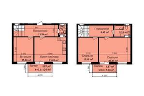 ЖК Кришталеві джерела: планировка 3-комнатной квартиры 110.71 м²