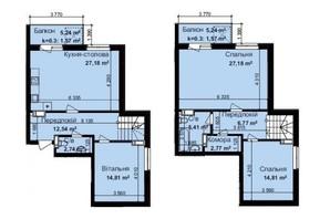 ЖК Кришталеві джерела: планировка 3-комнатной квартиры 117.35 м²