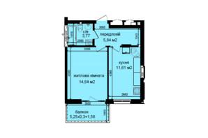 ЖК Кришталеві джерела: планировка 1-комнатной квартиры 37.44 м²