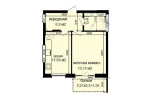 ЖК Кришталеві джерела: планировка 1-комнатной квартиры 39.29 м²