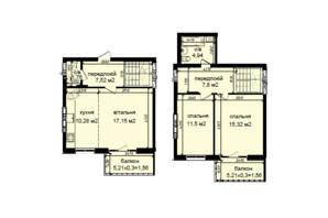 ЖК Кришталеві джерела: планировка 3-комнатной квартиры 79.39 м²