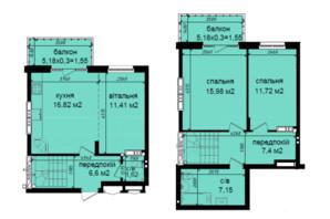 ЖК Кришталеві джерела: планировка 3-комнатной квартиры 81.9 м²