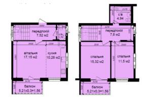 ЖК Кришталеві джерела: планировка 3-комнатной квартиры 82.49 м²