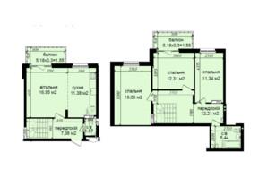 ЖК Кришталеві джерела: планировка 4-комнатной квартиры 99.74 м²