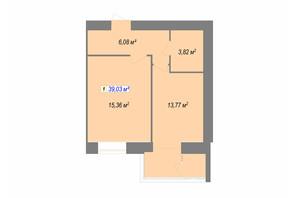 ЖК Кудрянка: планування 1-кімнатної квартири 39.03 м²